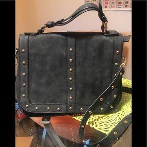 Black studed crossbody purse
